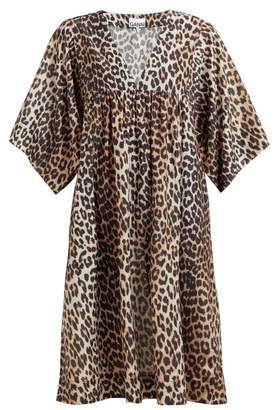Ganni Leopard Print Cotton Blend Dress - Womens - Leopard