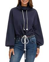 Women Casual Loose Shirts Lantern Long Sleeve Blouses with Drawstring LA15-2 2XL