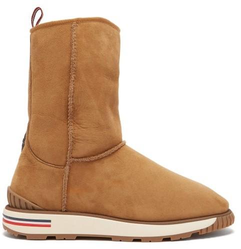 Moncler Gaby Shearling Lined Boot - Mens - Tan