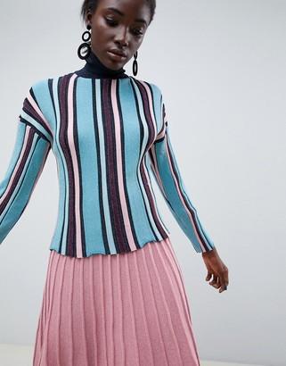 Asos Design DESIGN vertical stripe metallic jumper in eco yarn-Multi