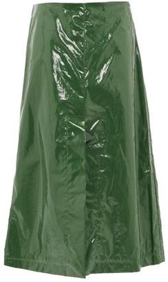 Sara Lanzi A-line Pvc Midi Skirt - Green
