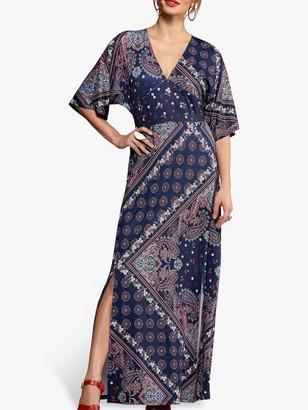 Yumi Ditsy Scarf Print Maxi Dress, Navy