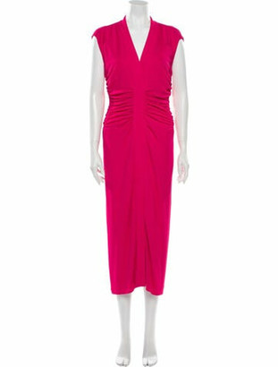 Narciso Rodriguez V-Neck Long Dress Pink