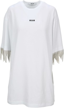 MSGM Swarovski Fringe T-shirt Dress