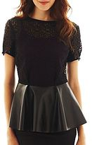 JCPenney Bisou Bisou® Short-Sleeve Pleated Peplum Top