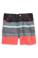 Andy & Evan Infant Boy's Coral Stripe Swim Trunks