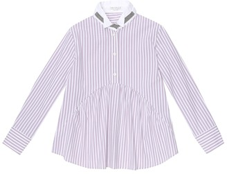 BRUNELLO CUCINELLI KIDS Embellished striped cotton shirt