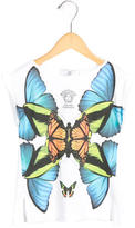 Versace Girls' Butterfly Print Crew Neck Top w/ Tags