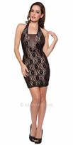 Atria Lace Illusion V Neck Halter Cocktail Dress