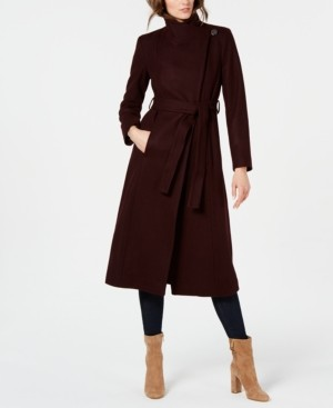 Kenneth Cole Reaction Kenneth Cole Petite Asymmetrical Belted Maxi Coat