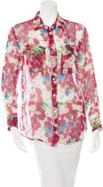 Equipment Sheer Floral Print Blouse