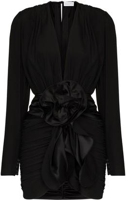 Magda Butrym V-Neck Ruched Mini Dress