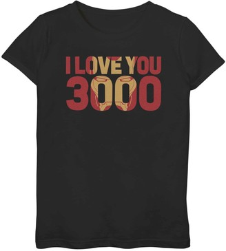 Iron Man Licensed Character Girls 7-16 Marvel I Love You 3000 Mask Fill Tee