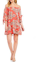 Sugar Lips Sugarlips Off-The-Shoulder Floral Sheath Dress