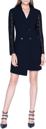 Akris Double-Breasted Dress w/ St. Gallen Embroidered Sleeves