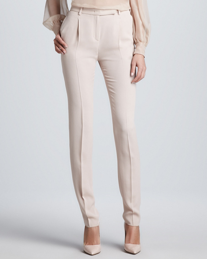 Valentino Stitched-Pleat Cady Pants, Poudre