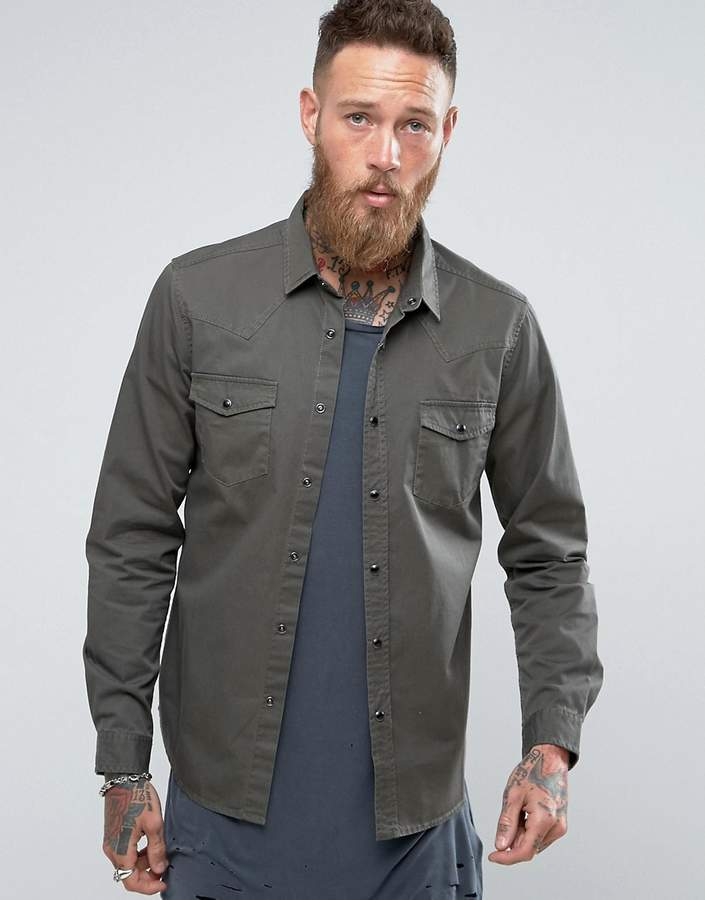 Asos DESIGN Regular Fit Western Denim Shirt In Khaki