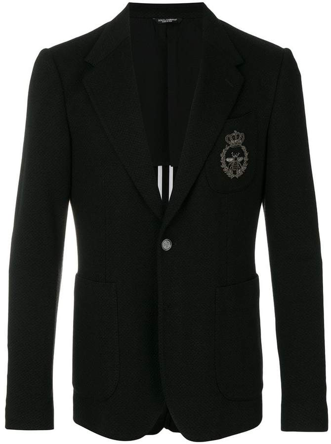 Dolce & Gabbana textured bee embroidered blazer