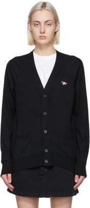 MAISON KITSUNÉ Black Tricolor Fox Patch Classic Cardigan