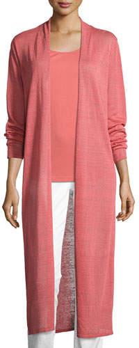 Eileen Fisher Fine Organic Linen-Blend Maxi Cardigan, Coral, Plus Size