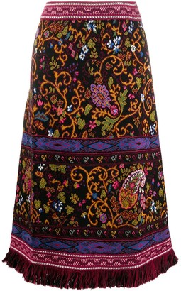 Etro Paisley-Print Knitted Midi Skirt