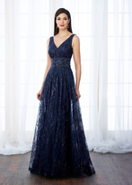 Cameron Blake - 217645 Sequined Tulle Sleeveless Gown