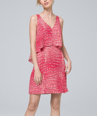 White House Black Market Women's Casual Dresses Coral - Coral Snake Angle-Tiered Sleeveless Shift Dress - Women & Juniors