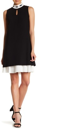 Nanette Lepore Mock Neck Pleated Hem Dress