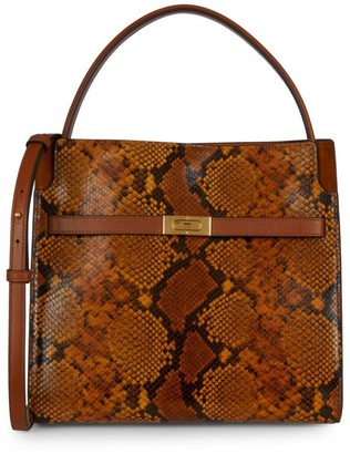 Tory Burch Lee Radziwill Snake-Embossed Leather Satchel