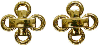 One Kings Lane Vintage 1980s Gold-Plated Earrings - Wisteria Antiques Etc