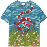 Gucci T-shirt with sky and garden print - men - Linen/Flax - XS