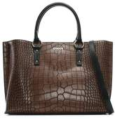Armani Jeans Reptile Brown Eco Leather Top Zip Shopper Bag
