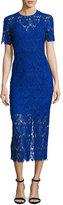 Diane von Furstenberg Short-Sleeve Tailored Overlay Midi Dress