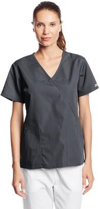 Cherokee Women's Workwear Scrubs Angled Patch Pocket Mock Wrap Top