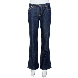 Roberto Cavalli Indigo Dark Wash Denim Studded Straight Fit Jeans L