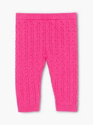 John Lewis & Partners Baby Cotton Cable Knit Leggings, Pink