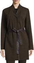 Lafayette 148 New York Snap-Front Long Belted Jacket, Espresso
