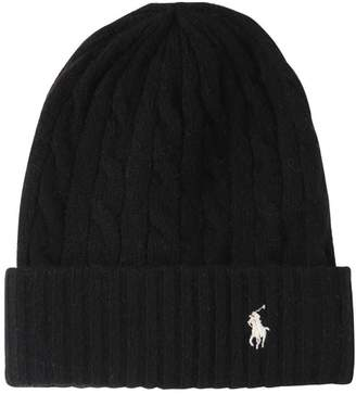 Polo Ralph Lauren Logo Wool & Cashmere Cable Knit Beanie