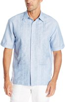 Cubavera Cuba Vera Men's Double Lower Pocket with Embroidery Panels Short Sleeve Woven Shirt