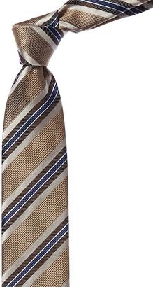 Canali Brown & Blue Stripe Silk Tie