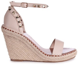 Linzi PROSECCO - Beige Espadrille Wedge With Studded Detail