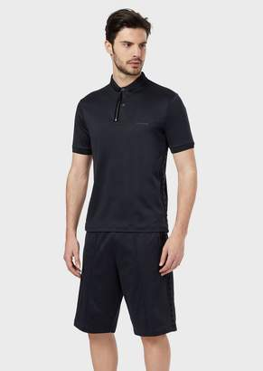 Giorgio Armani Polo Shirt In Cotton Interlock Fabric With Appliqueed Flocked Studs