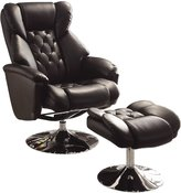 Homelegance 8548BLK-1 Swivel Reclining Chair with Ottoman, Bonded Leather Match