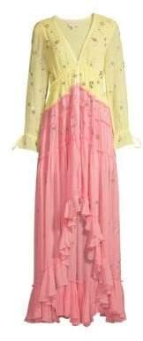 Rococo Sand Women's V-Neck Ruffle Dress - Yellow Pink - Size Large