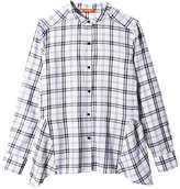 Joe Fresh Women's Plaid Peplum Back Shirt, Denim Blue (Size XL)