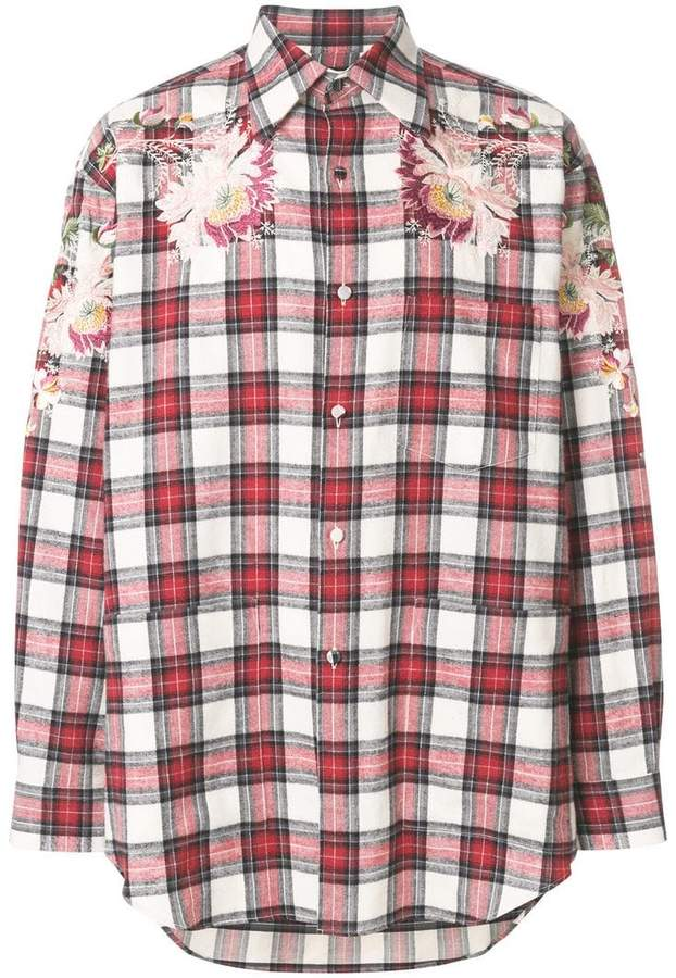 Gucci embroidered check shirt