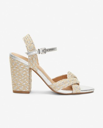 Express Metallic Strap Jute Block Heel Sandals