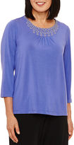 Alfred Dunner 3/4 Sleeve Solid Top