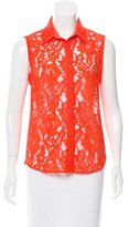Sandro Lace Accented Sleeveless Top