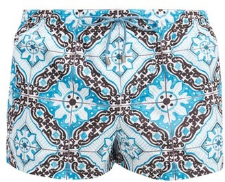 Dolce & Gabbana Tile-print Swim Shorts - Black Multi